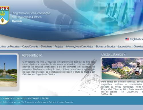 Website Pós-graduação Engenharia Elétrica do IME